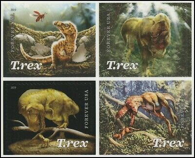US 5410-5413 5413a T.Rex Tyrannosaurus forever block set (4 stamps) MNH 2019
