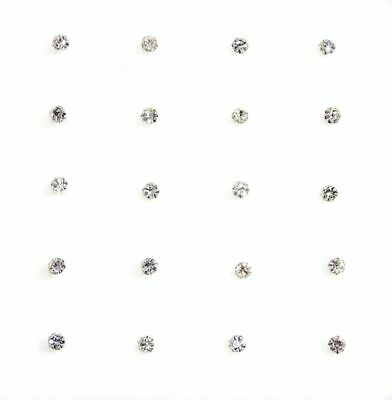 Sterling Silver Straight Clear Round Claw Set Crystal Nose Studs
