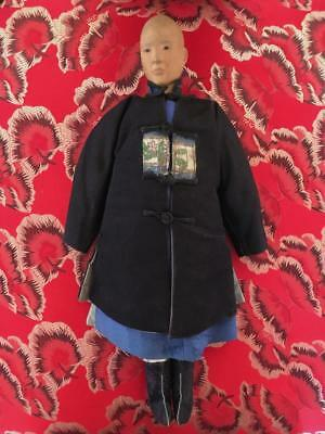 Antique Chinese Handcrafted Wooden DOOR OF HOPE Mission Doll Handsewn Early 1900