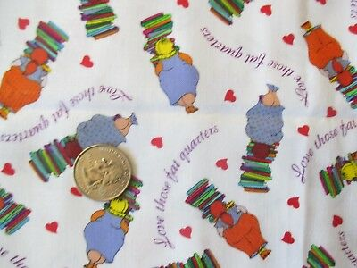 SEWING Vintage Small LOVE THOSE FAT QUARTERS On WHITE 1990's COTTON Fabric-1 yd