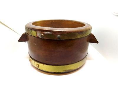 Antique-Vintage Small Wooden Tub or Bowl  Metal Banded - Country-Primitive