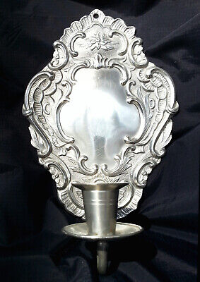 Antique Ornate Victorian Pewter Candle Holder Wall Sconce