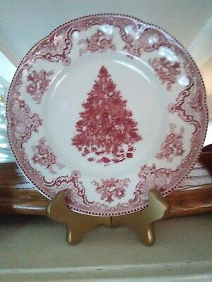 Johnson Bros. Old Britain Castles Pink Red Christmas Tree  Plate 8 ""