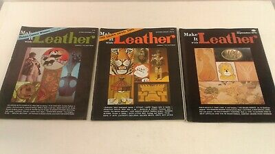 Make it with leather 1970's craft magazines x3  tools/bags/belts