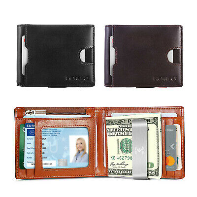 New Men's Card Holder Wallet Genuine Leather RFID Blocking Coin Purse Money Clip