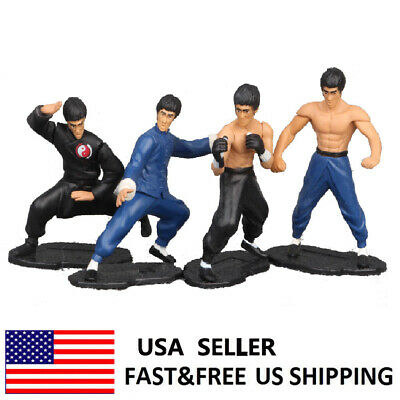 Bruce Lee Dragon Master Kung Fu Action Figure Doll Collection Model Toys 4 PCS