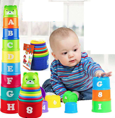 Baby Educational Toy Children Kids to Set Figures Letters Folding Cup New Pagod