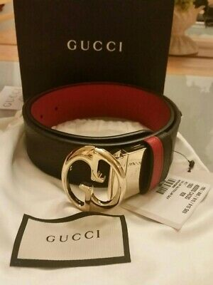 3ab2d7e2d0d NWT Gucci Authentic Women Calf Leather Black  Red Belt Size 80B (small).