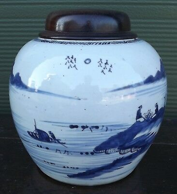Antique C19th Chinese Blue & White Pottery Ginger Jar with Wooden Lid (h: 23cm)