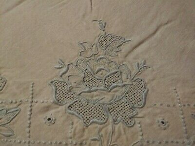 """Gorgeous Vintage or Antique Madeira Floral Embroidered Linen Show Sheet 98""""x83"""""""
