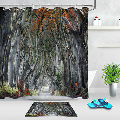 Forest Red Leaves Trees Path Polyester Fabric Shower Curtain Set Bathroom Hooks