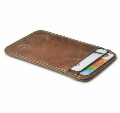 Real Leather ID Credit Card Holder Wallet Slim Pocket Case Cardholder Brow