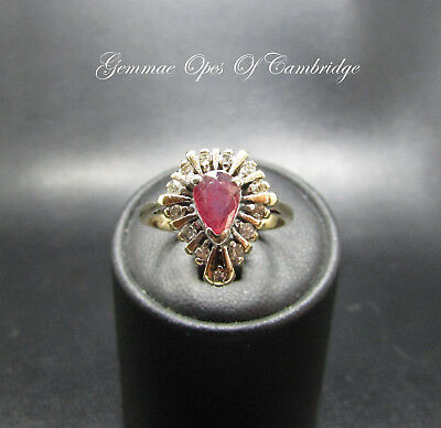 9K Gold 9ct gold Deco Style Red Spinel and Diamond Cluster Ring Size O 1/2 3.9g