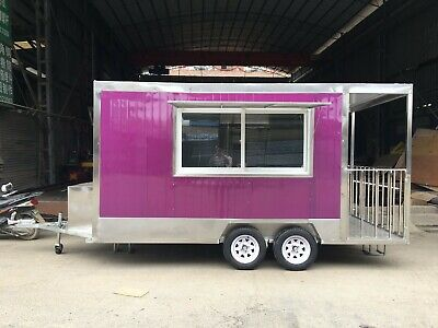 New 4MX2M Stainless Steel Concession Stand Trailer Mobile Kitchen Ship By Sea