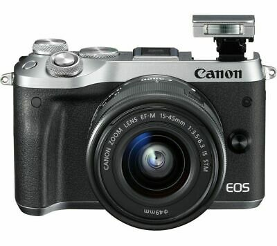 CANON EOS M6 Mirrorless Camera with 15-45 mm f/3.5-6.3 Lens - Silver-Brand New