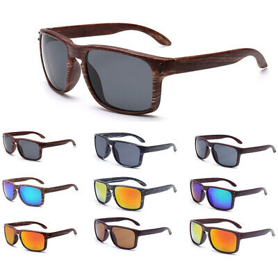 Mens Faux Wood Sunglasses Flat Unisex Wooden Top Retro Eye Glasses UV400 Women