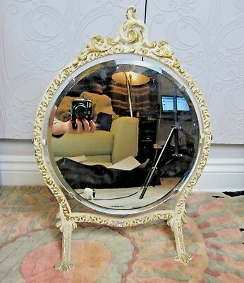 Vintage shabby chic free standing swing DRESSING TABLE MIRROR. Cream. Cast iron.