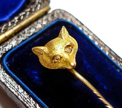 Beautiful Antique Victorian Or Edwardian 9Ct Gold & Diamond Fox Stick Pin