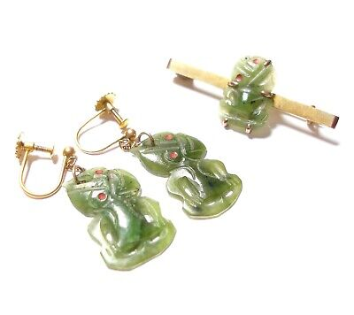 Beautiful Antique 9Ct Gold & New Zealand Jade Earrings & Brooch Set