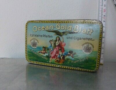 1900 Tabakdose Shag tin cigarette or pipe tobacco tin Ocean Gold Blatt