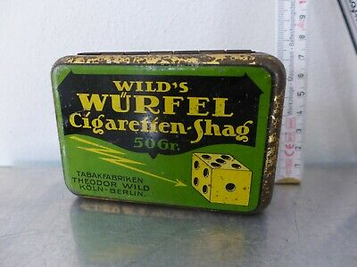 1930 Tabakdose Shag tin cigarette or pipe tobacco tin Würfel Art Déco Bauhaus