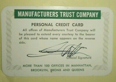 Vintage Rare MANUFACTURERS TRUST COMPANY PERSONAL Credit Card Banking Ephemera