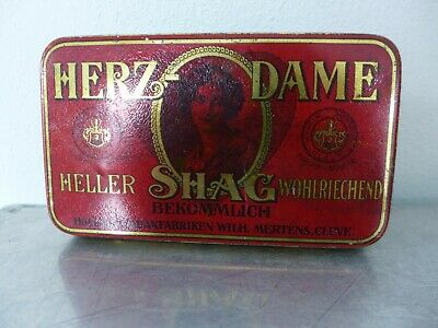 1900 Tabakdose Shag tin cigarette or pipe tobacco tin Art Nouveau Queen of Heart