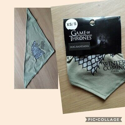 GAME of THRONES DIRE WOLF STARK DOG BANDANA. XS. BNWT