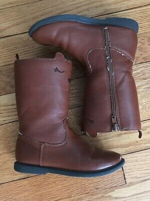 5e457f45f Carter's Pity2 Kitty Tall Brown Riding Boots Size 12 Zip Up Side  Embroidered Cat
