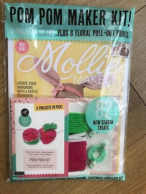 Mollie Makes Issue 105 Plus Free Pom Pom Kit Plus 8 Floral Pull Out Prints