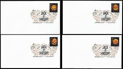 US 5137-5140 Halloween Jack of Lanterns (set of 4) DCP FDC 2016
