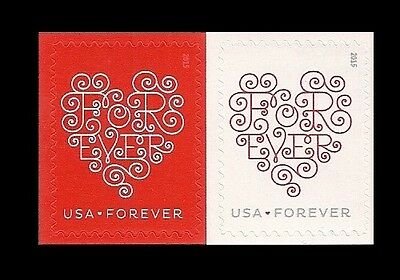 US 4955-4956 4956a Forever Hearts forever horz pair set MNH 2015