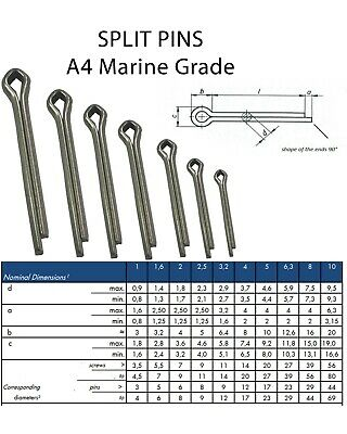 Straight Split Cotter Pins / Split-Pin Marine Grade A4 Stainless Steel Hairpin