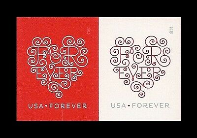 US 4956b Forever Hearts imperf NDC horz pair set MNH 2015