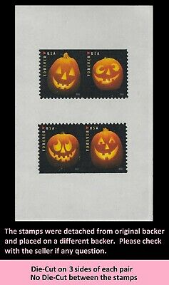 US 5137-5140 Jack-O'-Lanterns forever partial die-cut two horz pair set 2016
