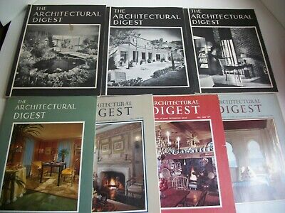 Lot of 7 Vintage THE ARCHITECTURAL DIGEST 1960 1961 1963 1966 1968 1969 1970 VG