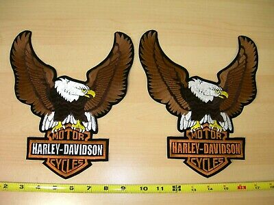 "Set of Two(2) Harley-Davidson Brown Up-Wing Eagle ""10 1/2 x 7 3/4 "" Large Patch"