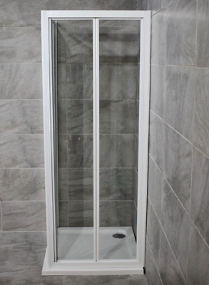 New 760mm White Bi-fold Shower Door