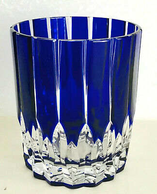 1 Ajka Castille Cobalt Blue Cased Cut To Clear Crystal Whiskey Scotch Dof