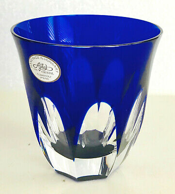 1 AJKA LAUSANNE COBALT BLUE cased cut to clear crystal whiskey dof SCOTCH rocks