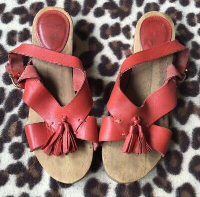 Girl's Red Leather Tassel Clog Sandals *Zara*Eu 34 (Uk 2) Great Condition