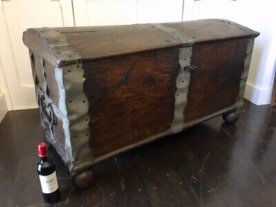 Large Antique 18thc Spanish / Continental Domed Top Oak Chest