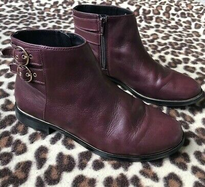 Girl's Burgundy Leather Buckle Ankle Boots *Zara*Eu 37(Uk 4) Great Condition