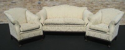 Antique Three Piece Chippendale Upholstered Salon, Parlor, Sofa Set