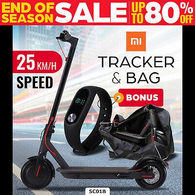 Electric Scooter 300W Foldable Portable Adult Kids Xiaomi Band Commuter Bike BLK