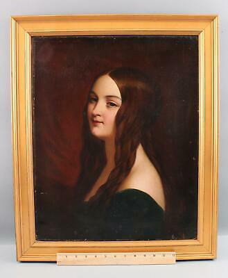19thC Antique O/C American Portrait Oil Painting, Young Woman w/ Smile, NR