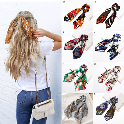 Women's Sweet Print Scrunchie Satin Ribbon Elastic Bow Scarf Ponytail Hair Rope