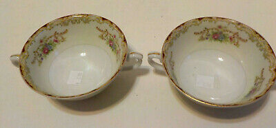 Antique vintage LOT of TWO 2-Handled Cup / Soup bowl?  Marked RENWICK JAPAN