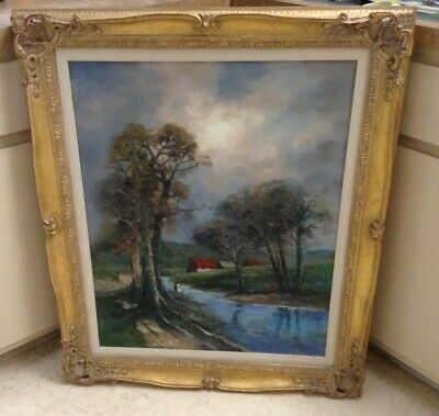 Antique Oil Painting~By Artist Kardin~Ornate Frame~Old Southern Plantation~24X30