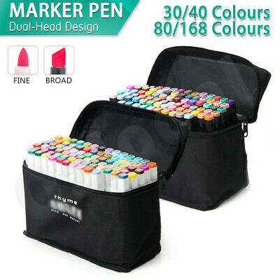 Marker Pen 30/40/80 Colors Set Graphic Art Sketch Dual Head Broad Point Copic